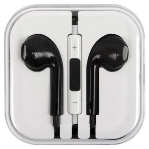 Headphone compatible with Apple Cell Phones; Apple Tablets; Apple MP3-Players, (black, TRRS 3.5 mm)