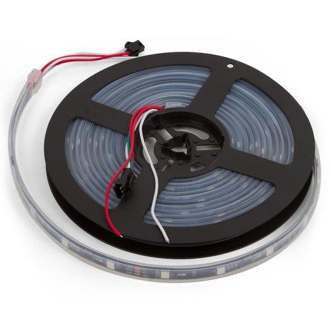 Світлодіодна стрічка RGB SMD5050, WS2811 чорна, з управлінням, IP67, 12 В, 30 діодів м, 1 м
