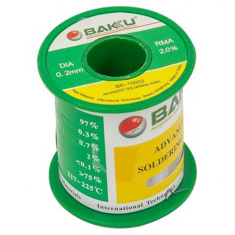 Припій BAKU BK 10002, sn 97%, ag 0,3%, 100 г, 0,2 мм, флюс 2%, cu 0,7%