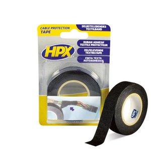 Стрічка одностороння тканинна HPX 19 мм, 25 м, чорна (картонна упаковка)